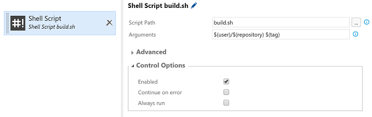 configuring shell script build step