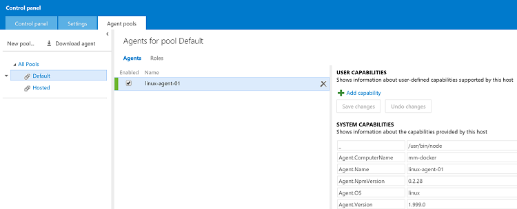 Linux build agent in the VSO account agent pool