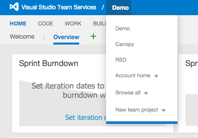 Fast switch between projects in Visual Studio Team Services