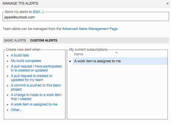 Creating personal alerts in Visual Studio Team Services